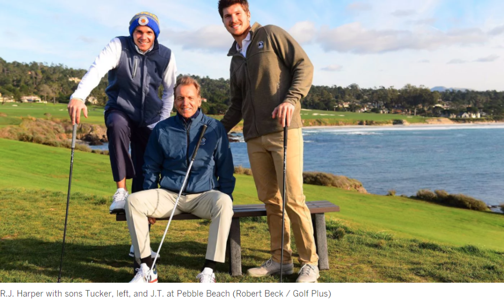R.J. Harper with sons Tucker, left, and J.T. at Pebble Beach